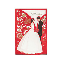 Wholesale Lace For Invitations - Wholesale- 50pcs lot 2016 New Arrivals Red Laser Cut Lace Flowers Groom&Bride Wedding Invitations Elegant Cards Decoration for Guests JJ775
