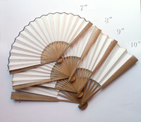 "Wholesale Rice Crafts - 7-12"" Blank Plain Color Hand Fan Adult Calligraphy DIY Fine Art Hand Painting Programs Chinese rice Paper Folding Oil Bamboo Fans Crafts"