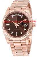 mm schokolade groihandel-Luxus Uhren 40 Schokolade Zifferblatt 18K Everose Gold automatische Bewegung Herrenuhr Herrenuhr Armbanduhren