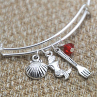 Wholesale wholesale seashells - 12pcs Little Mermaid inspired bracelet Seashell Mermaid fork charm bangle bracelet