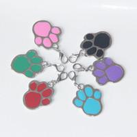 Wholesale paw pet tags - 2017 Hot! New zinc alloy Paw prints pendant diy pendant charms Pet Tag Footprints type dog tags