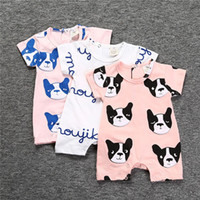 Wholesale Dog Clothes Bear - Baby Romper Summer Cartoon Bear Dog Jumpsuit for Boys Girls Toddler Clothing Kids Fashion Children Clothes
