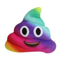 poop spielzeug großhandel-35 cm Farben Regenbogen Emoji Kissen Nette Plüschtier Puppe Poop Kissen Poo Emoji Kissen Emotion Kissen Lustige Sitz Kussens