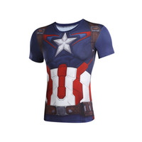 Wholesale Batman Compression Shirt - Marvel Super Heroes Avenger Captain America Batman 3D printing T shirt Men Compression Armour Base Layer Thermal Under Causal t-shirts Tops