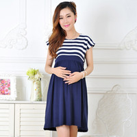 Wholesale Casual Tea Length Lace Dress - New Women Long Dresses Maternity Plus size Casual Striped Dress for Pregnant Women Pregnancy Women's dress Clothing Mother Home Clothes L XL
