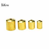 Wholesale Cord Ends Caps Crimp - BoYuTe 100Pcs 11 Sizes Metal Brass Tassel Leather Cord End Caps Clasp DIY Jewelry Accessories Parts