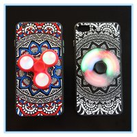 LED Flash Fidget Spinner Finger Phone Case Cover pour iphone 7 Hand Spinner Back Cover pour iPhone 6 6S 7 Plus Imprimé Case
