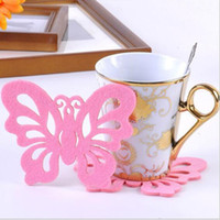 Vente en gros - 2 pièces / Lot Crochet Doilies lkea Design Articles innovants Brosses d'isolation en feutre Mat Coasters Placemats Butterfly Shape Cup # S383