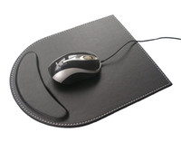 black leather desk accessories - PU Leather Gaming Mouse Pad With Wrist Comfort Rest Computer Desk Accessories