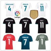 dfcf0c6f4 SERGIO RAMOS RONALDO KROOS BALE ISCO NAVAS Real Madrid Home Away Third  17-18 Jerseys Custom Football Shirt Goalkeeper Soccer Uniforms Kit ...