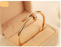 Wholesale Nail Bracelet Diamonds - Nail jewelry wholesale diamond bracelet couple models 18k rose gold bracelet Korean star the same paragraph you