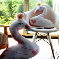 Wholesale Plush Animal Chairs - Dorimytrader Lovely Animal Swan Plush Chair Cushion Pillow Big Soft Stuffed Animals Goose Toys Kids Present 70cm DY61650