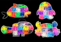 Wholesale Animal Shape Rubber Band - Rainbow loom bands DIY Kit Fun Loom Rubber bands Kit Animal shapes Loom Rubber Bands Set gum for bracelets Colorful Children Toy Components