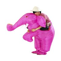 Wholesale Adult Pink Elephant Costume - Wholesale-Animal Funny Inflatable Elephant Costume Entertainment Adult Fancy Dress Christmas Halloween Mascot Costumes for Women Men