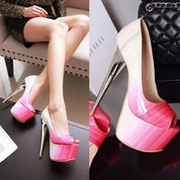 Wholesale Red Toe Open Platform Shoes - Big Size Women's Shoe 16CM High Heels 5.5cm Platform Pumps Party Shoes For Women Wedding Shoes tenis feminino Y-12-85