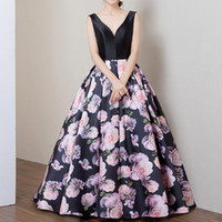 Wholesale Sexy Quinceanera Dresses - 2017 A Line Floral Printed Pageant Prom Dress V Neck Satin Evening Graduation Gown Sexy Sleeveless Formal Quinceanera Dresses