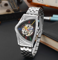 Wholesale Heart Shape Tags - 2017 New Colors Luxury Watches Hollow Out Automatic Watch Mechanical Heart-shaped Triangle Watch Mens Watches Skeleton Watch aaa watches