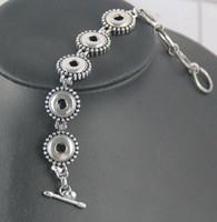 bracelets à 12 mm noosa en morceaux achat en gros de-Nouveau Antique Argent Plaqué Bijoux De Mode Femmes Noosa Morceaux 5 Snap Toggle-Fermoirs Alliage Charme Bracelet ajustement 12mm DIY Snap Button