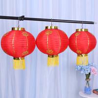 китайские новогодние украшения оптовых-Ремесло декор фонари китайский традиционный Новый год Красный повесить фонарь Весенний фестиваль украшения для свадебных принадлежностей 9ht C
