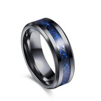 Wholesale Carbon Fiber Ring Wedding Band - eejart Black 316L Stainless steel Ring Wedding Band blue Carbon Fiber des Nibelungen Dragon rings for men