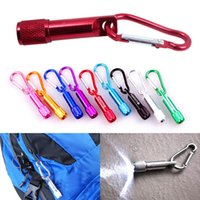 Wholesale Wholesale Keychain Rings Clips - Mini LED Flashlight Carabiner Mountaineering Buckle Torch Clip Keychain Camping Hiking Glare Pocket Portable Key Chain Ring Aluminum Alloy