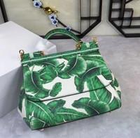 Wholesale Banana Leather - free shipping The new spring and summer 2017 25CM banana leaf color printing Leather Handbag Shoulder Messenger Bag