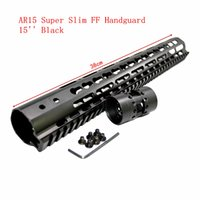 Wholesale Handguard Float - hunterking Tactical 15 inch Free Float Handguard Mount Bracket with Detachable Rail BLACK Barrel Nut For AR-15 M4 M16