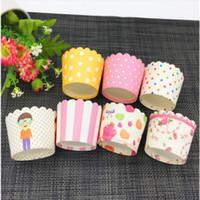 cupcake liner stil großhandel-Kuchenform Cupcake-Tool Mini Muffin Backförmchen Random Style Bands Cupcake Cupcake Liner Pergamentpapier Fällen