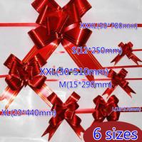 cinta decorativa flores al por mayor-Envío gratis 500 unids Cinta Roja 6 Tamaños (S M L XL XXL XXXL) Embalaje de Regalo de Navidad Tire de lazos de lazo Cintas de flores decorativas de regalo de vacaciones