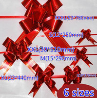 Wholesale Christmas Pull Bows Wholesale - Free Ship 500pcs Red Ribbon 6 Sizes (S M L XL XXL XXXL) Christmas Gift Packing Pull Bow Ribbons Decorative Holiday Gift Flower Ribbons