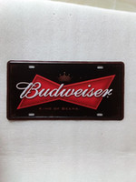 Wholesale Art Wall Plaque - BUDWEISER KING OF BEER 3D embossed Metal Plaque Car Number Retro Licence Plate Tin Sign Bar Pub Home Cafe Wall Decor Retro Metal Art Poster