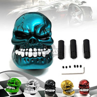 Novo Carved Skull Head Car Gear Shift Knob Universal Fit Manual Transmissão Stick Shift Gear Shifter Alavanca Botão Azul