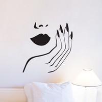 murais de parede sexy venda por atacado-Manicure salão de parede decalques de vinil diy menina sexy unhas adesivos de parede removível home decor murais de parede