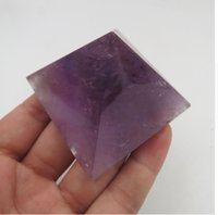 Wholesale Buddhism Dance - 50*50mm 100% Natural Amethyst Quartz Crystal Pyramid Hand made Healing Wholesale Reiki Brazil Amethyst Stone