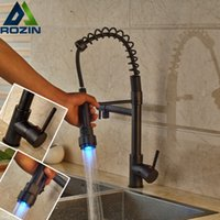 Wholesale Led Water Spout - Wholesale- LED Color Changing Oil Rubbed Bronze Dual Spout Kitchen Faucet One Handle Spring Pull Down Water Taps for Kitchen