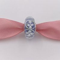 ingrosso collana di fiori viola-Autentico argento 925 perline viola campo di fiori Charms Adatto europeo Pandora stile bracciali gioielli collana Murano 791667