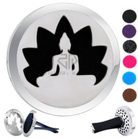 Wholesale buddha car for sale - Group buy Round Silver Buddha mm Magnet Diffuser Car aromatherapy Locket Essential Oil Stainless Steel Car Diffuser Lockets