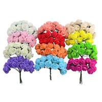 Vente en gros- 1.5-2cm Single Head Multicolor Pe Rose Bouquet de fleurs en mousse Pe Flower / Scrapbooking Rose artificielle DIY Flower (144pcs / lot)
