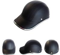 Wholesale Motorcycle Helmet Wholesale - Wholesale- 2016 PU Leather Motorcycle Open Half face Helmets Bike Bicycle Helmet Baseball Cap gorras de beisbol