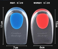 Wholesale Pain Relieving Gel - Mens Women Silicone Gel Heel Cushion Insoles Soles Relieve Foot Pain Protectors Spur Support Shoe Pad Feet Care Inserts