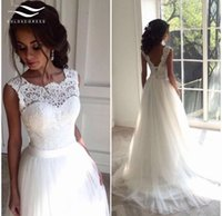 Wholesale Wedding Dresses Feathers Skirts - Elegant Bridal Wedding Gown Real Photos Chiffon White Lace Cheap Beach Wedding Dress 2017 Vintage Appliques vestido De noiva 2017