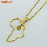 Wholesale gold african map pendant - Anniyo Gold Color Africa Map Pendant Necklaces Heart African of Maps Jewelry Charms #010421