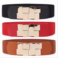 Wholesale Leather Fabric For Belt Wholesale - Wholesale- Fashion Elastic Wide Waist Belts For Women Silver Metal Buckle Fabric Strap Female Cummerbund Lady Apparel Accessories Waistband