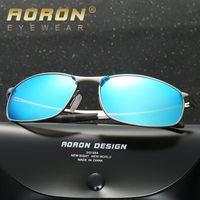 gafas de sol de marca china al por mayor-tendencias de las gafas de sol hombres retro cara redonda de china hombres venta al por mayor UV400 mens gafas de sol polarizadas definición de apoyo de la marca europa azul lente de prueba