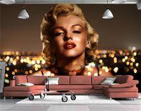 marilyn monroe mural venda por atacado-Moda Europeia Marilyn Monroe Menina Murais de Parede 3D Wallpapers Foto Mural de Pessoas para Sala de estar Wall Art Wallcoverings Decor