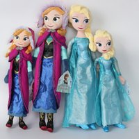 Wholesale frozen doll elsa anna doll cm frozen elsa anna plush doll boneca frozen cm for Children Baby Kids frozen action figures toys in stock