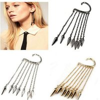Wholesale Pendant Ear Cuffs - 2017 New Style Lady's Ear Cuff Fashion Trends Pendant Ear Clip Exaggerated Tassel Rivet Pattern Earrings