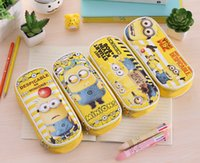 Wholesale Minion Pencils - Pencil Case Pen Case Big Capacity PU Makeup Bag Stationery Pouch Storage for Girl Students School Office Supplies Cute Yellow Minions