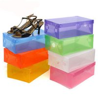 Wholesale Plastic Clothing Storage Bins - Transparent Shoebox with Lid Clear Plastic Shoe Clamshell Storage Boxes Bins DIY Boots High Heels Shoes Boxes Home Organizer