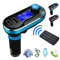Wholesale mp3 player resale online - Car MP3 Audio Player Bluetooth FM Transmitter BT66 Wireless Bluetooth Car Kit Handsfree LCD Display USB Charger